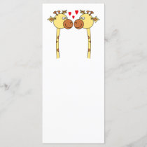 Two Giraffes with Red Love Hearts. Cartoon