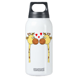 Two Giraffes with Red Love Hearts. Cartoon 10 Oz Insulated SIGG Thermos Water Bottle