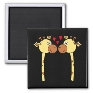 Two Giraffes with Red Love Hearts. Cartoon 2 Inch Square Magnet