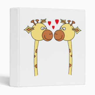 Two Giraffes with Red Love Hearts. Cartoon 3 Ring Binder