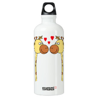 Two Giraffes with Red Love Hearts. Cartoon Aluminum Water Bottle