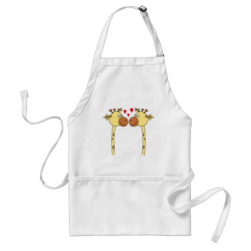 Two Giraffes with Red Love Hearts. Cartoon Adult Apron