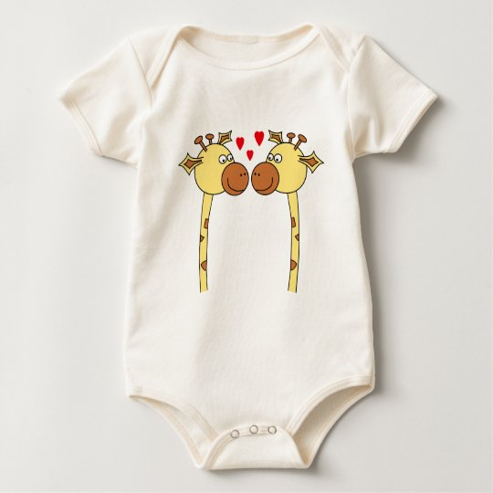 Two Giraffes with Red Love Hearts. Cartoon Baby Bodysuit