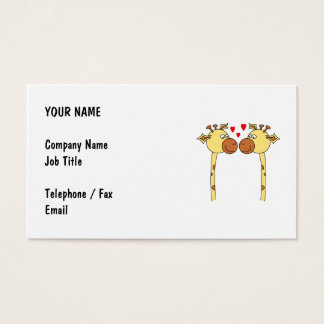Two Giraffes with Red Love Hearts. Cartoon Business Card
