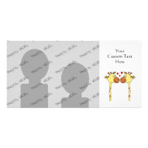 Two Giraffes with Red Love Hearts. Cartoon Card
