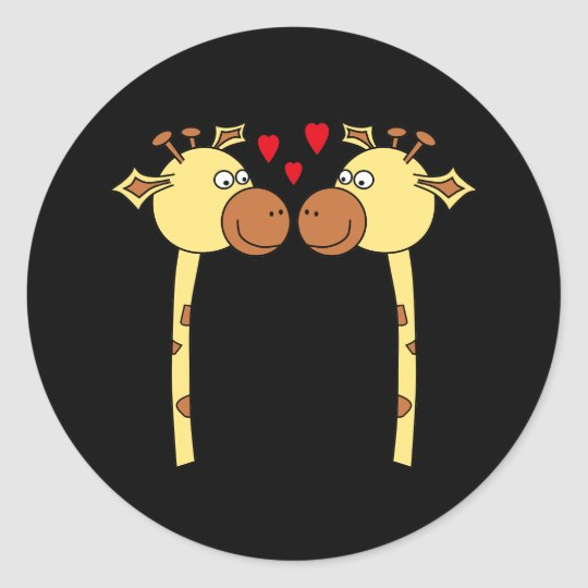Two Giraffes with Red Love Hearts. Cartoon Classic Round Sticker