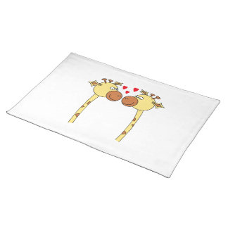 Two Giraffes with Red Love Hearts. Cartoon Cloth Place Mat