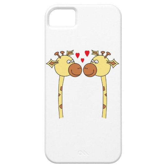 Two Giraffes with Red Love Hearts. Cartoon iPhone SE/5/5s Case