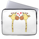 Two Giraffes with Red Love Hearts. Cartoon Laptop Sleeves