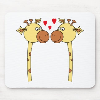 Two Giraffes with Red Love Hearts. Cartoon Mouse Pad