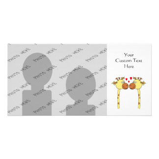 Two Giraffes with Red Love Hearts. Cartoon Photo Card