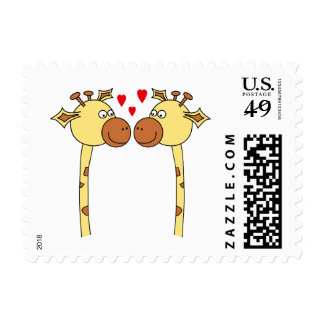 Two Giraffes with Red Love Hearts. Cartoon Postage