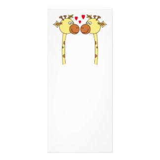 Two Giraffes with Red Love Hearts. Cartoon Rack Card