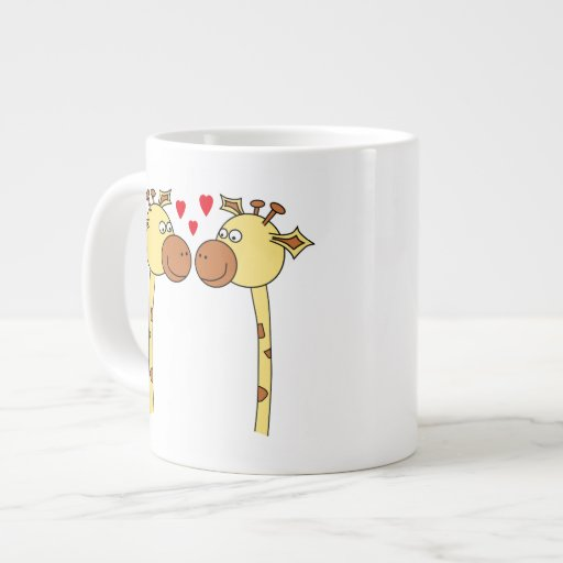 Two Giraffes with Red Love Hearts. Cartoon Extra Large Mug