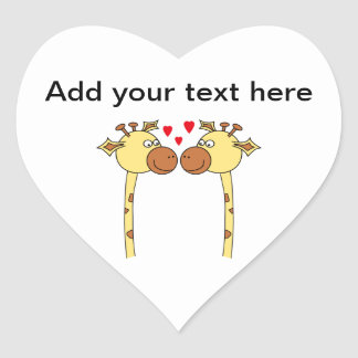 Two Giraffes with Red Love Hearts. Cartoon Heart Sticker