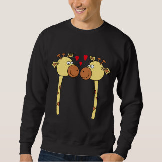 Two Giraffes with Red Love Hearts. Cartoon Sweatshirt