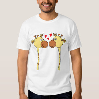 Two Giraffes with Red Love Hearts. Cartoon T-Shirt