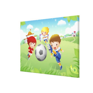 Two girls and a boy playing soccer canvas print