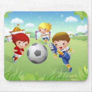 Two girls and a boy playing soccer mouse pad