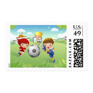 Two girls and a boy playing soccer stamps