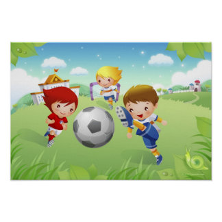 Two girls and a boy playing soccer poster