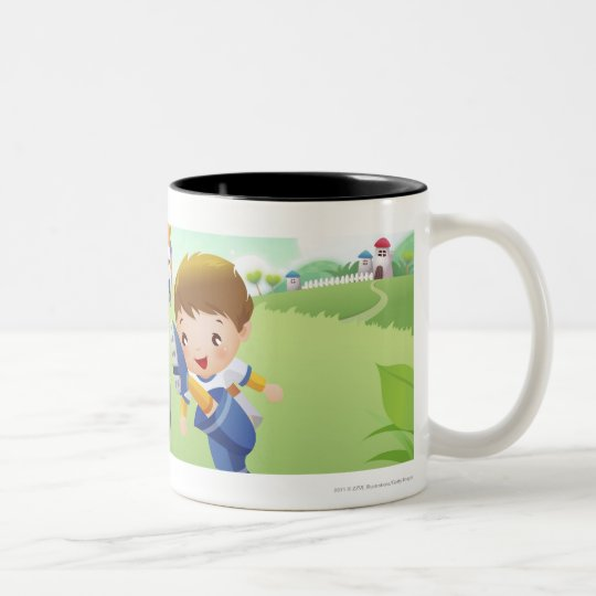 Two girls and a boy playing soccer Two-Tone coffee mug