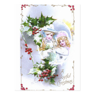 Two Girls and Lots of Holly for Christmas Postcard