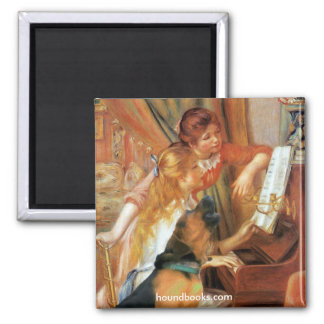 Two Girls (and Wimsey the Bloodhound) at the Piano 2 Inch Square Magnet