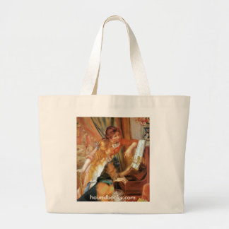 Two Girls (and Wimsey the Bloodhound) at the Piano Large Tote Bag