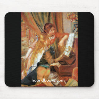 Two Girls (and Wimsey the Bloodhound) at the Piano Mouse Pad