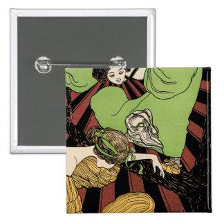 Two Girls - Art Nouveau - Jugendstil Pinback Button