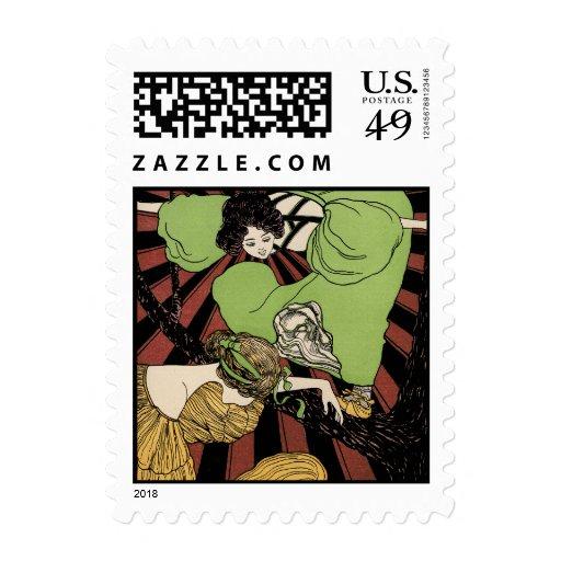 Two Girls - Art Nouveau - Jugendstil Stamp