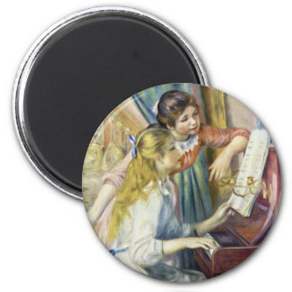 Two Girls At The Piano,  By Pierre-Auguste Renoir 2 Inch Round Magnet