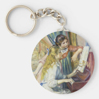 Two Girls At The Piano,  By Pierre-Auguste Renoir Basic Round Button Keychain