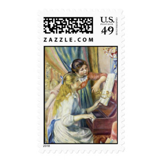 Two Girls At The Piano,  By Pierre-Auguste Renoir Postage Stamp