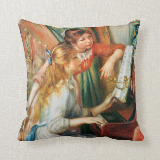 Two Girls at the Piano by Renoir Throw Pillows
