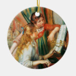 Two Girls at the Piano, Pierre Auguste Renoir Christmas Ornament