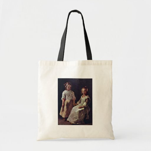 Two Girls.,  By Le Nain Louis (Best Quality) Canvas Bags