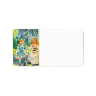 Two girls by the window by Berthe Morisot Custom Address Label