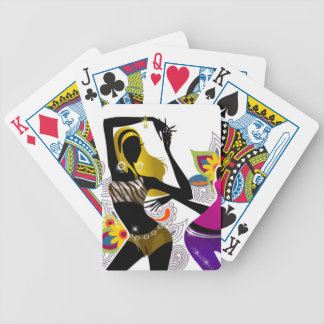 Two Girls Dancing Floral Background Vector Illustr Bicycle Playing Cards