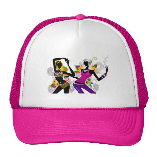 Two Girls Dancing on Floral Background Vector Illu Trucker Hat
