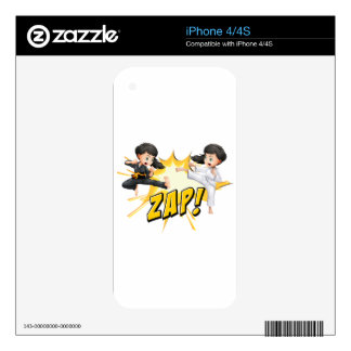Two girls doing martial arts decal for iPhone 4