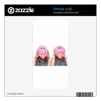 Two girls hold pink balloon with facial expression skins for iPhone 4S