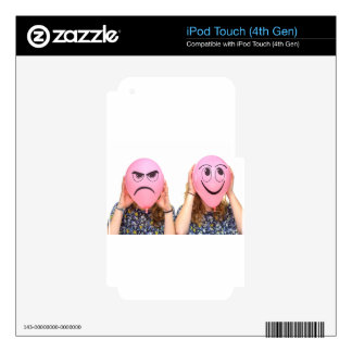 Two girls holding pink balloons with expressions iPod touch 4G decal
