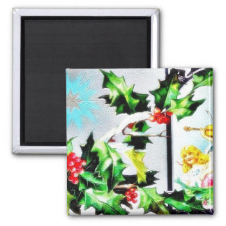 Two girls in a garden, one girl plays violin and t fridge magnet