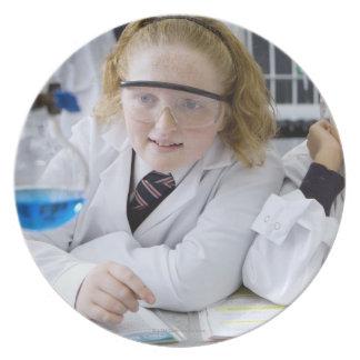 Two girls in school uniform wearing lab coats plate
