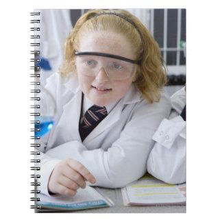 Two girls in school uniform wearing lab coats spiral notebook
