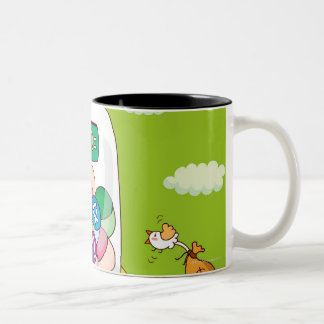 Two girls near a gumball machine Two-Tone coffee mug