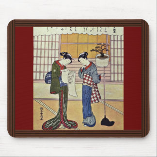 Two Girls On A Porch By Suzuki Harunobu Mousepads