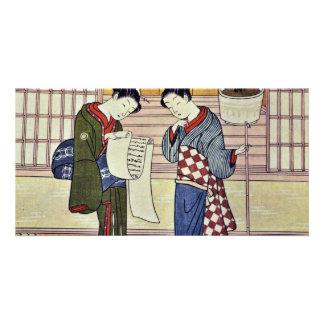 Two Girls On A Porch By Suzuki Harunobu Picture Card